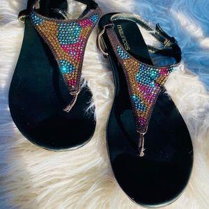 Maurices Iridescent rhinestone sandals